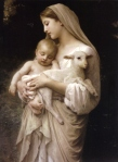 High Resolution Our Lady the Blessed Virgin Mary holding the Baby Jesus and a Lamb