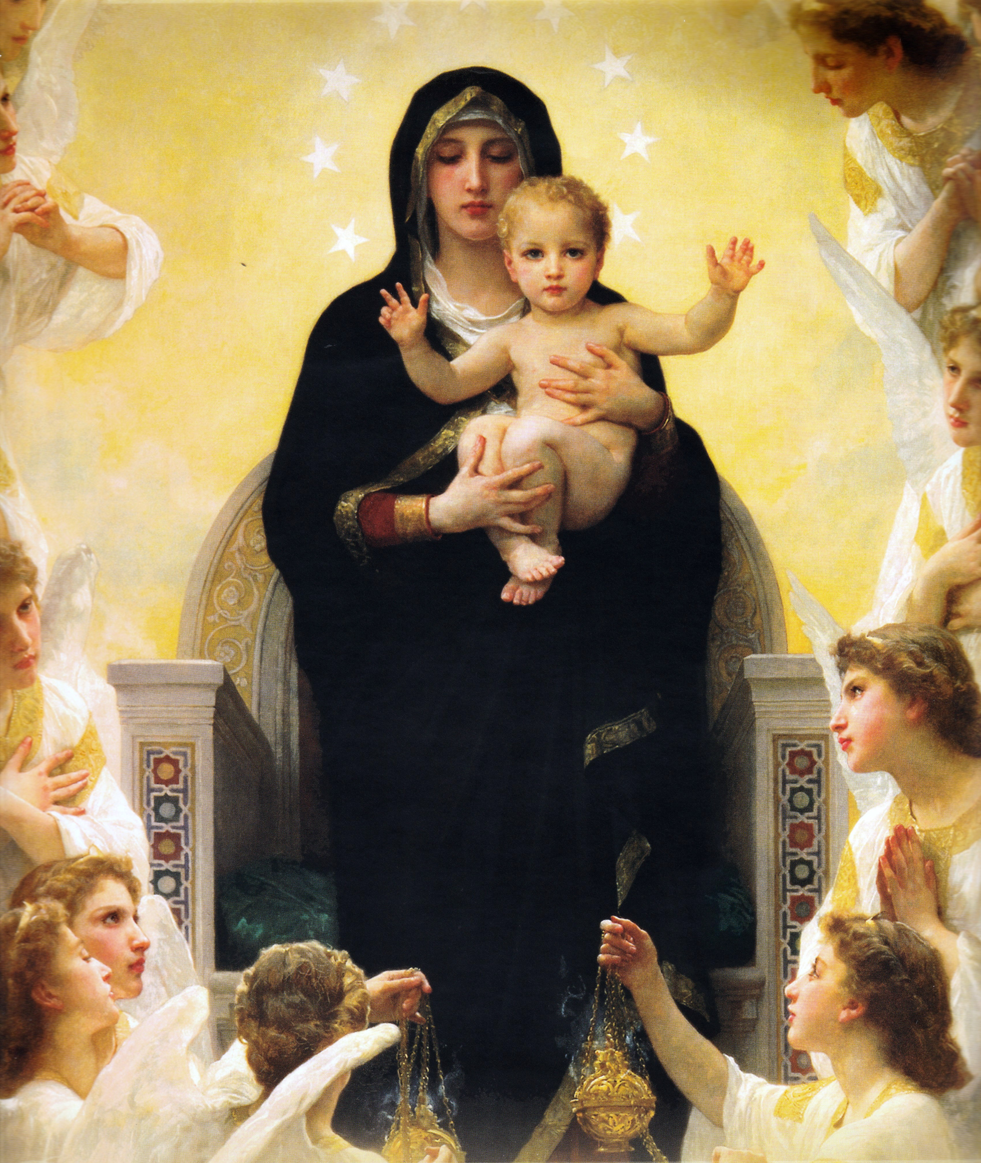 virgin mary with child jesus surrounded by angels bouguereau