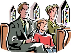 Family Sitting in Church Clipart