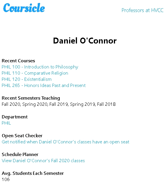 Daniel O'Connor at Hudson Valley Community College _ Coursicle HVCC